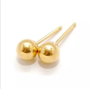 14k Yellow Gold Ball Bead Round Post 5mm Earrings